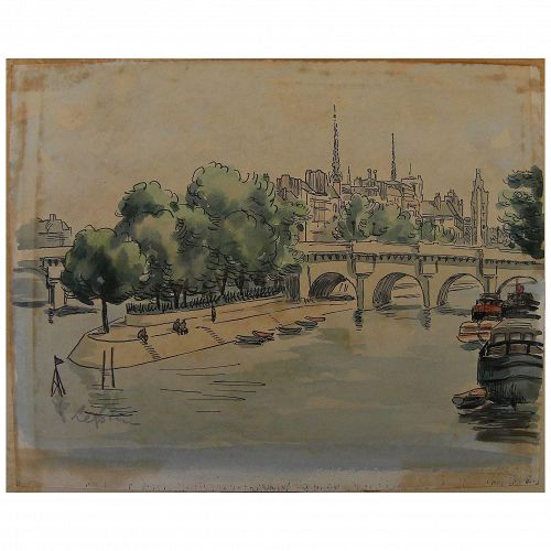 French ink and watercolor Paris drawing signed Leprin (likely Marcel Leprin 1891-1933)