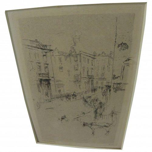 "JAMES MCNEILL WHISTLER (1834-1903) original etching ""Alderney Street"" 1881"