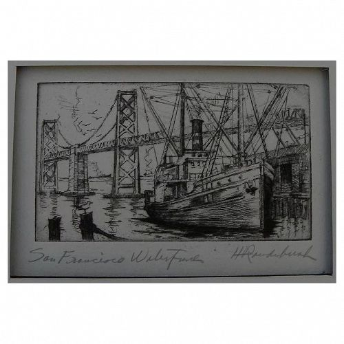 "HARRIET GENE ROUDEBUSH (1908-1998) pencil signed etching ""San Francisco Waterfront"" by listed San Francisco artist"