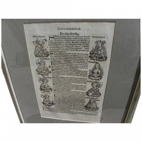 Nuremberg Chronicles original 1493 double-sided leaf including woodcut illustrations from landmark early printed book�