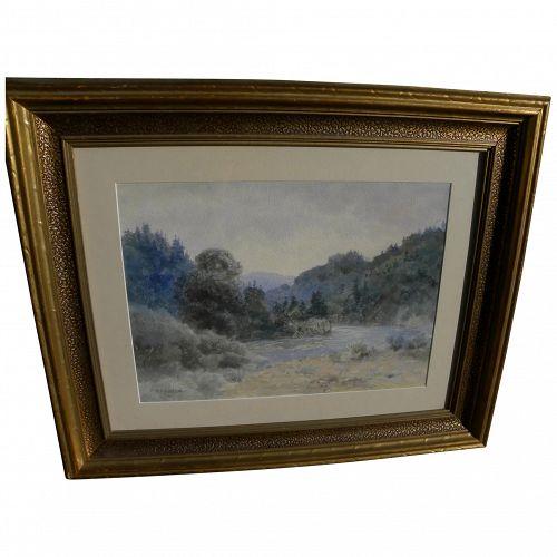 WILLIAM LEES JUDSON (1842-1928) California plein air watercolor landscape painting
