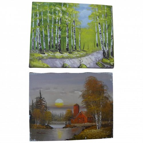 Pair small contemporary impressionist decorative landscape paintings