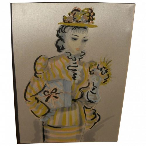 French 1950's painting on silk of fashionable young woman