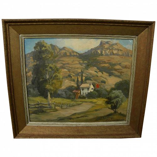 California signed 1960 painting of rugged landscape with house