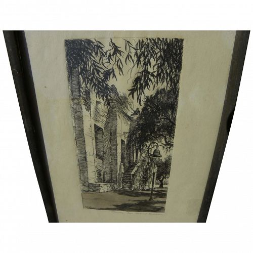 WILLIAM A. ESKEY (1891-1937) pencil signed California etching of San Gabriel Mission