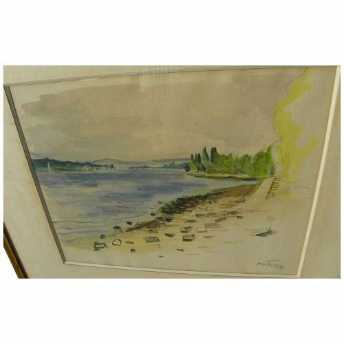French 1959 signed impressionist watercolor of a lakeshore