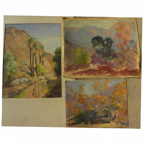 BERTHA TOWNSEND COLER (1865-1948) three plein air oil landscape paintings by listed California woman artist