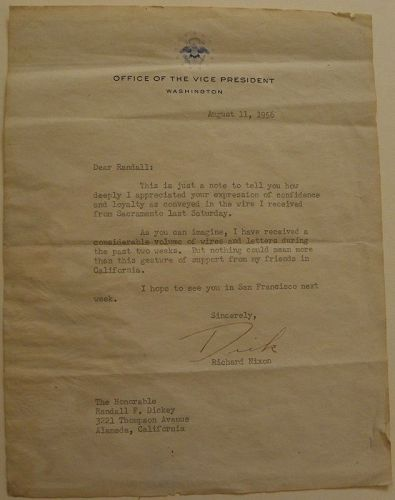 RICHARD NIXON signed letter 1956 as vice-president