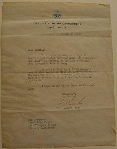 RICHARD NIXON signed letter 1956 as vice-president