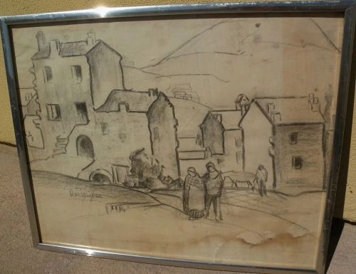 DAISY MARGUERITE HUGHES (1882-1968) pencil sketch of European village with figures