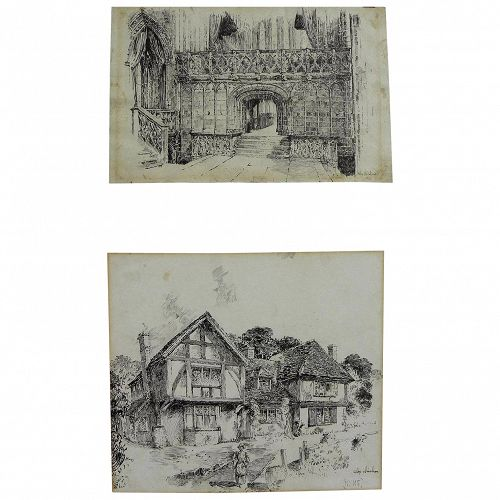 Pair English signed circa 1910 detailed architectural ink drawings