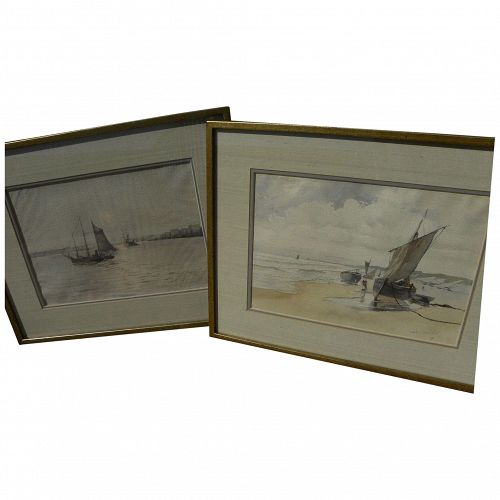 JULES MERSFELDER (1865-1937) **pair** watercolor paintings of coast scenes by noted early California artist