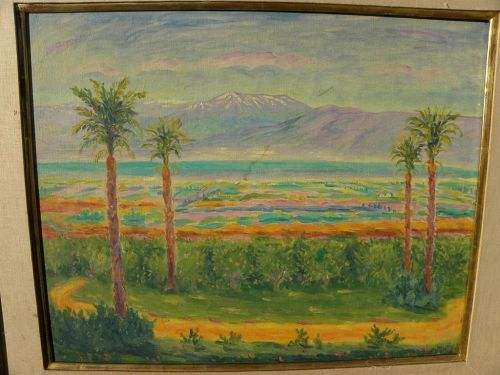 ARYE LEO PEYSACK (1894-1972) Israeli Jewish art impressionist signed landscape mountains and valleys painting