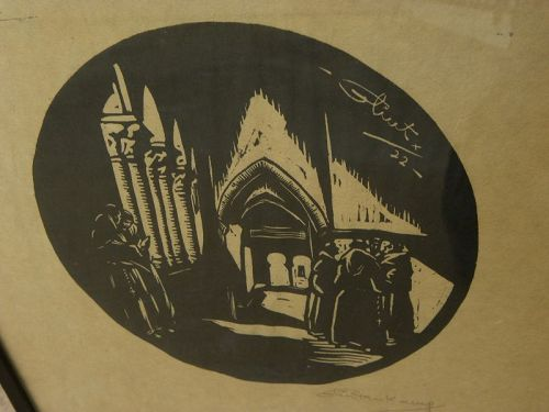 HENRY J. GLINTENKAMP (1887-1946) woodcut print 1922 American artist