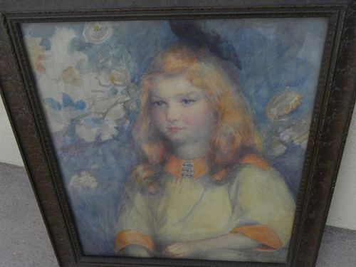 JESSIE FISKEN (1860-1935) American watercolor painting signed portrait