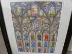 Watercolor painting of church stained glass windows