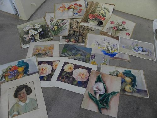 BERTHA COLER (1865-1948) large group unframed watercolors and misc.