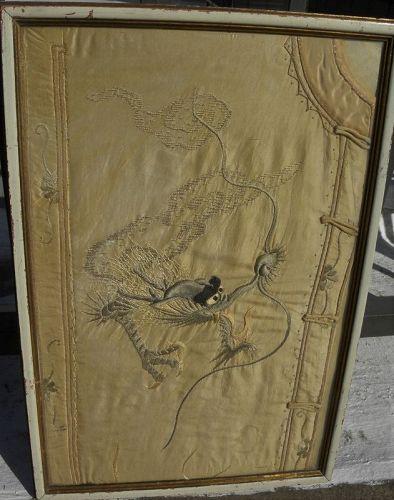 Chinese antique textile garment fragment dragon design