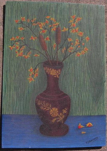 Naive style still life painting vase signed