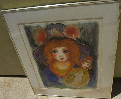 ROGER ETIENNE (1922-2011) big eye school painting French artist