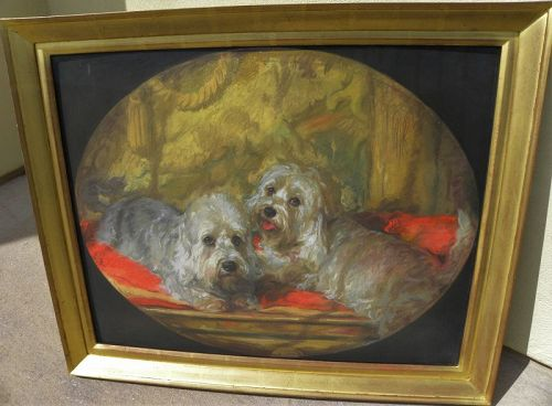 Dog art large fine pastel of white terriers