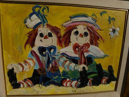 PAUL BLAINE HENRIE (1932-1999) Mid Century Modern painting clowns