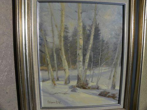 VERNON KERR (1938-1982) impressionist landscape painting winter birch