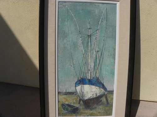 RAYMOND PERREAU (1874-1976) French artist painting boat