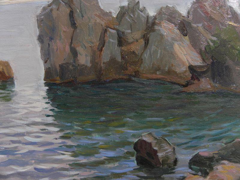 Vintage Russian art signed 1930 painting Crimea impressionist