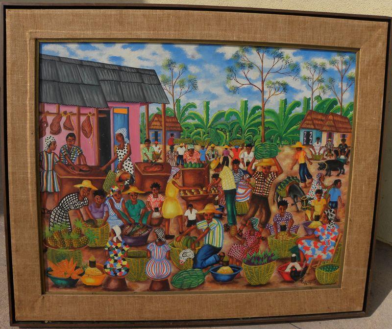 Haitian art vintage 1971 signed colorful painting tropical village