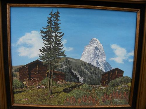 Vintage signed Switzerland landscape painting Matterhorn