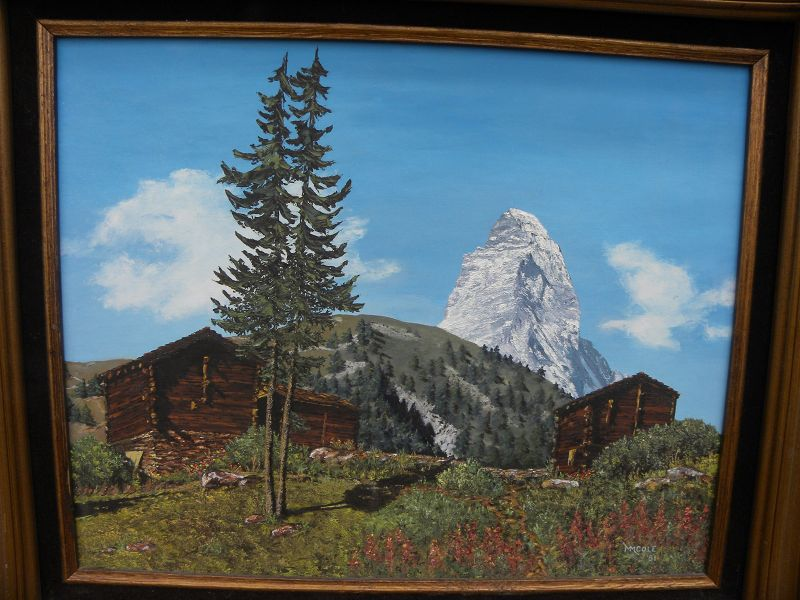 Vintage signed Switzerland landscape painting Matterhorn