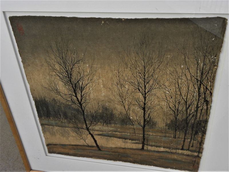 Contemporary Chinese watercolor landscape signed