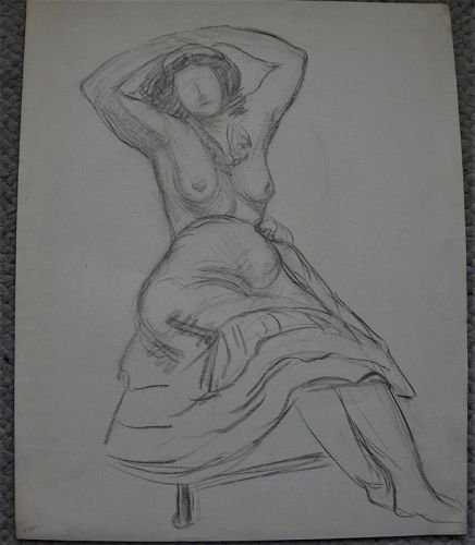 ABRAHAM WALKOWITZ (1878-1965) pencil drawing major Modernist artist