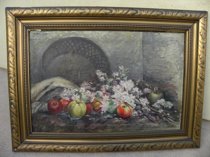 Antique impressionist still life painting German signed