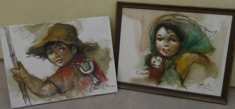 SALVADOR CABRERA (1930-1986) Filipino art PAIR paintings