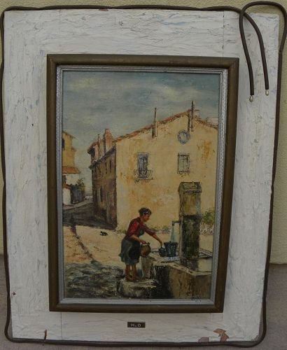 Vintage southern European street scene painting signed