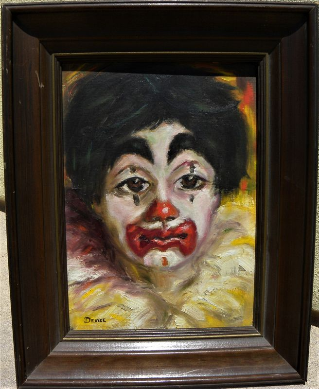 Clown painting vintage 1967 signed by American artist