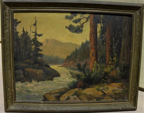JOHN ANTHONY CONNER (1892-1971) California painting mountain stream