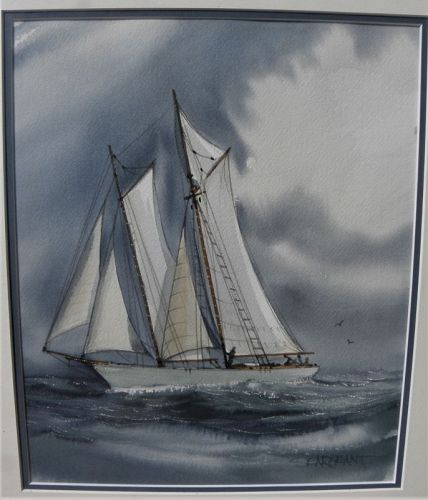 Sailboat watercolor painting signed