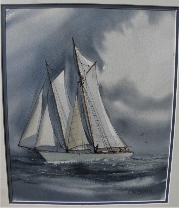 Sailboat watercolor painting signed