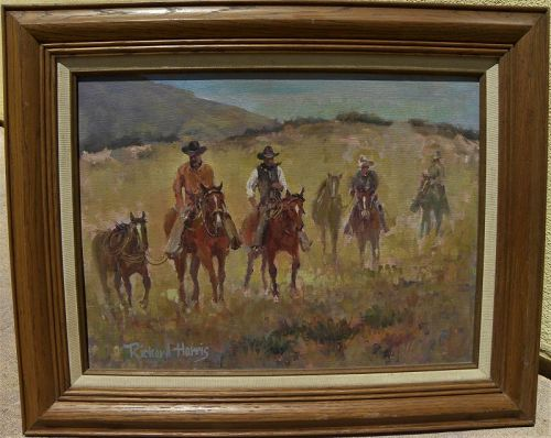 Western painting signed cowboys and horses well painted