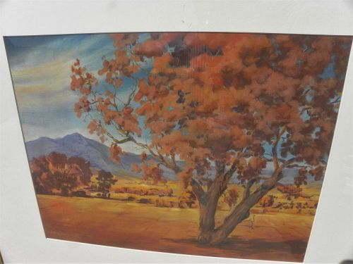 California autumn landscape pastel painting signed