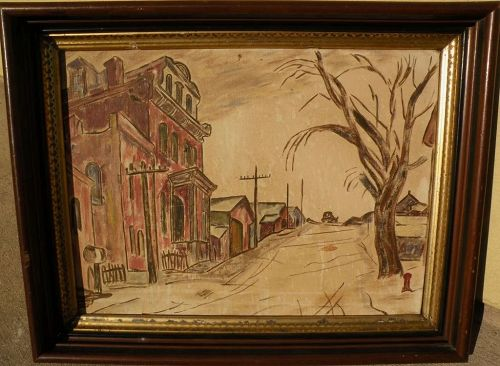 American Scene oil painting of old town scape in style of Charles Burchfield