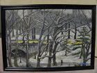 New York Central Park impressionist winter scene painting signed