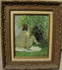 JULES R. HERVE (1887-1981) French impressionist painting nude outdoors