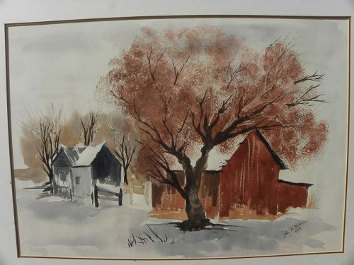 Watercolor vintage painting barn in landscape signed