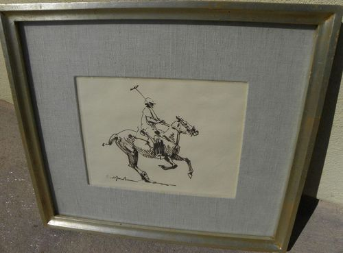 NED JACOB (1938-) drawing of polo player and horse western artist