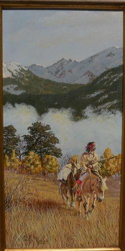 ART KOBER contemporary western American art landscape oil painting Native American on horseback�