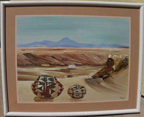 Southwest landscape painting with Native American pottery